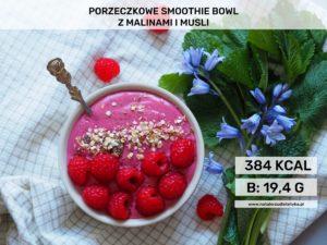 porzeczkowe smoothie bowl z malinami i musli deser